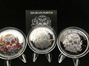 2018-Dia-De-Los-Muertos-3-Round-Silver-Set-with-Matching-Serial-Numbers-amp-COA