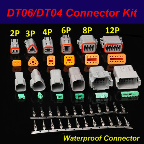 DT06//DT04 Kit 2Pin//3P//4P//6P//8P//12Pin Waterproof Electrical Connector Socket Plug