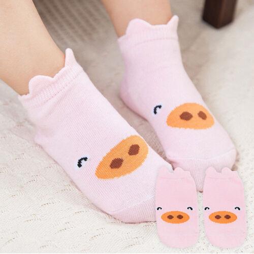 Kids Girls Infant Toddler Baby Ankle Socks Cartoon Animal Anti Slip Cotton Socks