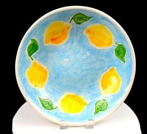 """STUDIO ART POTTERY STONEWOOD SIGNED LEMON BORDER LARGE BLUE 12"""" DISH 200"""