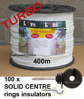 White Power Charge Electric Fence Rope 400m & 100 Ring Insulators