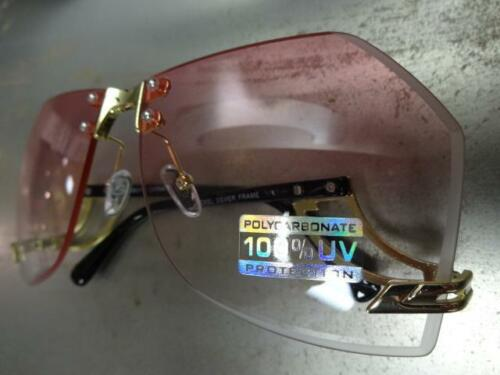 CLASSIC VINTAGE RETRO Style SUN GLASSES Upside Down Gold Frame Pink /& Clear Lens