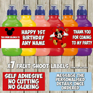 7 x Personalised Mickey Mouse Fruit Shoot Labels Bottle Stickers Birthday Party