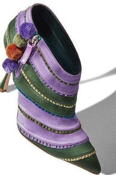 1095 NEW Manolo Blahnik OVIEDA Satin Ankle Stiefel Grün lila Pompom schuhe 37 36