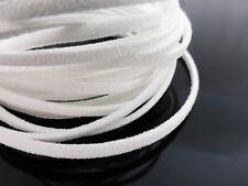 5m x 3mm BIANCO ECOPELLE Imitazione Pelle Scamosciata Cavo Tanga Pizzo della collana gioielli