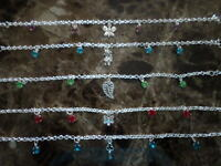 Womens Ankle Bracelets Adj 8-10 Inch Variety Crystals Charms Sterling Silver