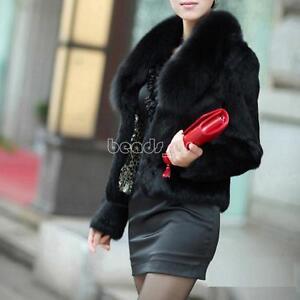 Women Faux Fox Fur Winter Super Coat Jacket Warm Parka Outwear Ladies Overcoat