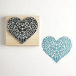 Craft Stamp Ink stamp Two Birds Heart Stamp Large by Noolibird