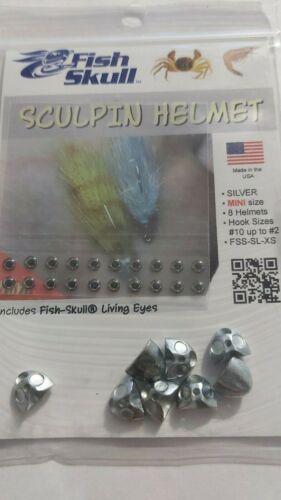 """FISH SKULL /"""" Sculpin Helmet /"""" Silver Mini Hook size #10,12   8 Skulls"""