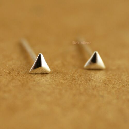 925 Sterling Silver TINY Triangle Dot Little Post Stud Earrings 2.6mm A1158-A