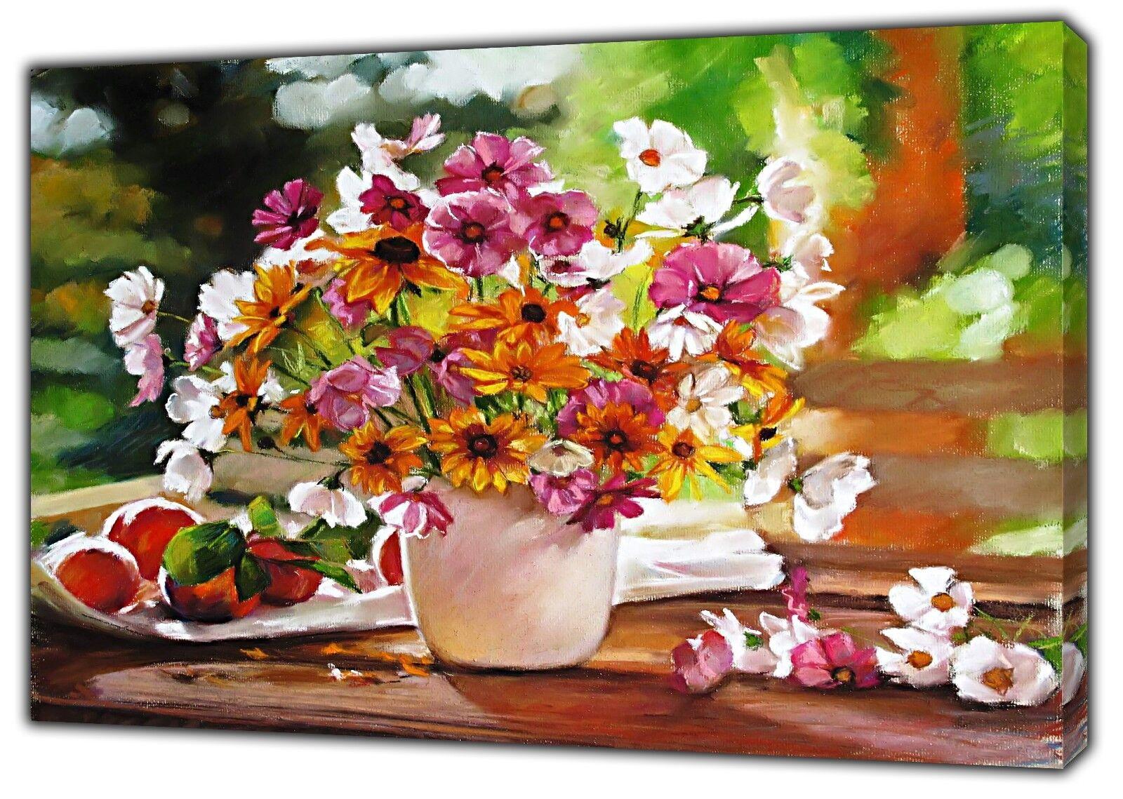blancoo flores de Color púrpura púrpura púrpura dibujado carbón pastel suave re Impresión En Lona Enmarcado 8fde60