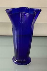 """Cobalt Blue Glass Vase with Ruffled Top and ribbed sides 9"""" high"""