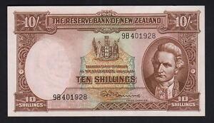 NEW-ZEALAND-P-158d-1956-67-Ten-Shillings-Fleming-With-Thread-aU-UNC