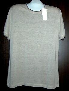 Vince-Beige-100-Linen-Men-039-s-T-Shirt-Shirt-Size-L-Classic-Fit