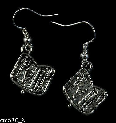 "Hand Made  Silver Colour ""Tool Box"" Earrings HCE242"