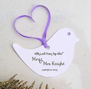 Image is loading Bird-Shaped-Personalised-Printed-Wedding-Favour-Gift-Tags- & Bird Shaped Personalised Printed Wedding Favour Gift Tags Labels ...