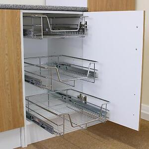 Image Is Loading 2 Kitchen Storage Wire Baskets Slide Out Drawer