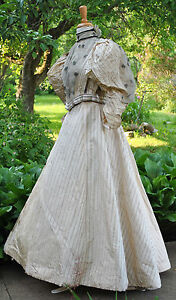 ANTIQUE-DRESS-1893-2-PC-WALKING-SUIT-SATIN-PUFFED-SLEEVES-MUSEUM-DE-ACCESSIONED