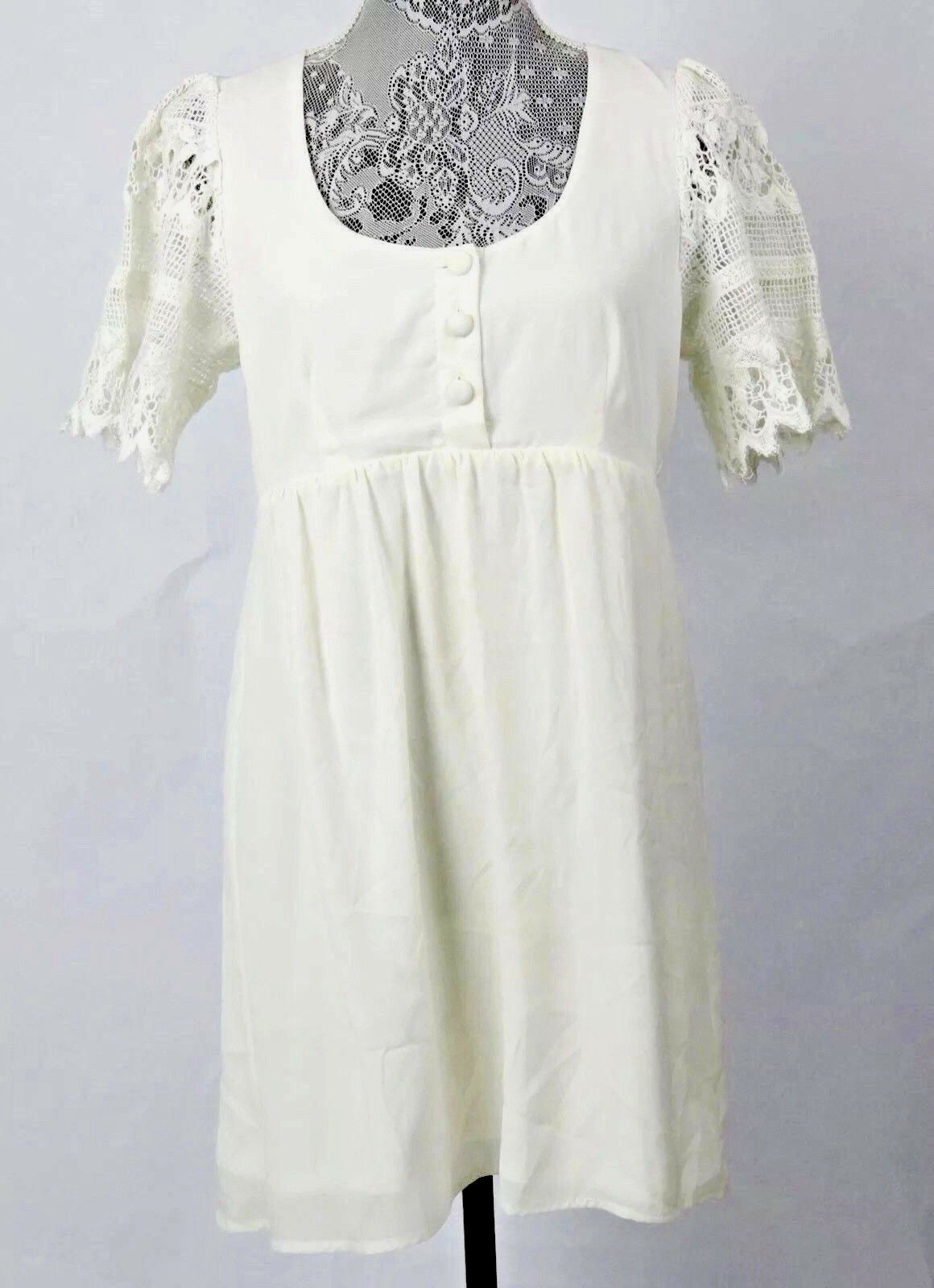 Stone Cold Fox Nina's Ivory White Babydoll Boho Dress Crochet Sleeves EUC Medium