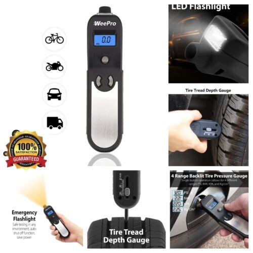 Digital Tire Pressure Gauge Meter Flashlight Air Release Tire Tread Measure 4in1