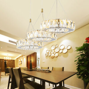 Details about Modern Crystal Round Rings LED 3 Lights Kitchen Ceiling  Hanging Pendant Lights