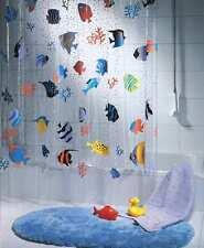 Spirella peces Peva Cortina de ducha de plástico transparente, 180 X 200 Cm, Azul/Naranja/YEL