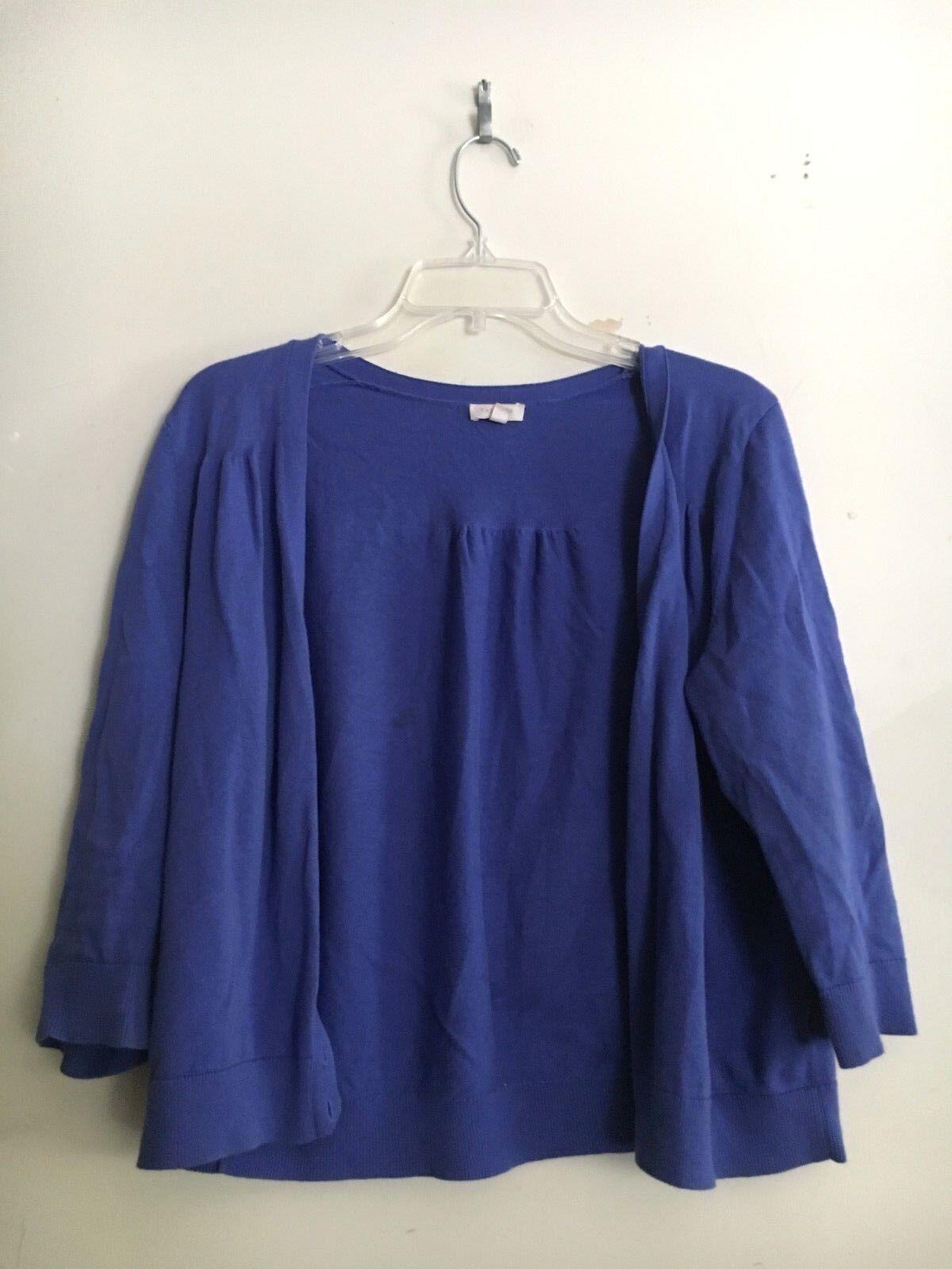 Talbots 100% Cotton Lavender Indigo Cardigan Sweater Women Size M CA