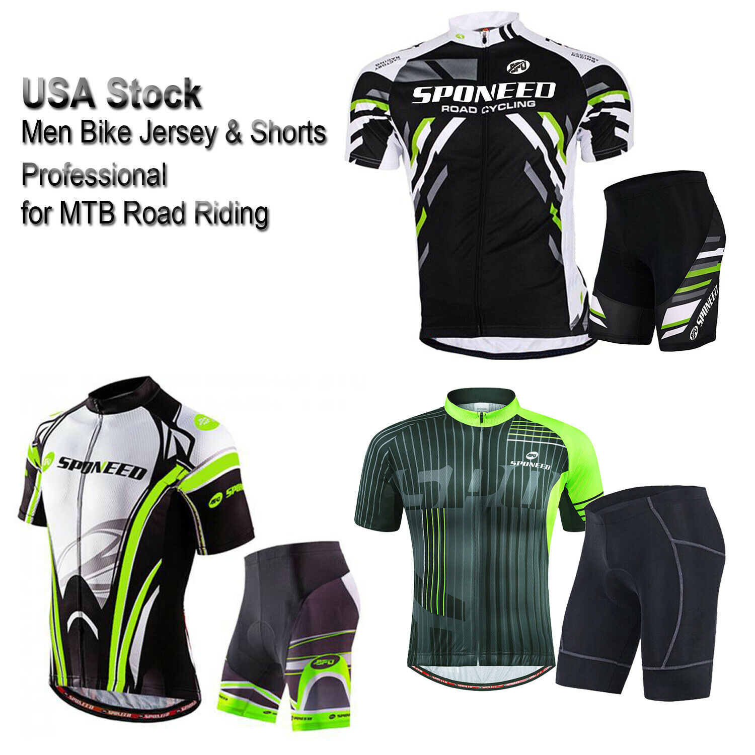 Cycling Shirt & Shorts Kit Men Bike Jersey Cycle Tights MTB Road Cyclist Uniform