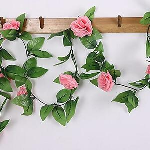 8Ft-Fake-Rose-Garland-Silk-Flower-Rattan-Vine-Ivy-Home-Garden-Decor-Dark-Pink-V