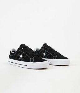 Cons-Shoes-One-Star-Pro-Low-Black-White-White-Suede-Converse-Skateboard-Sneakers