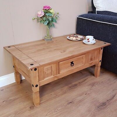 Corona Coffee Table Mexican Solid Pine 1 Drawer Livingroom