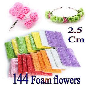 144Pcs Mini Artificial Flowers Small Foam Rose Heads Wedding Party Bouquet USA