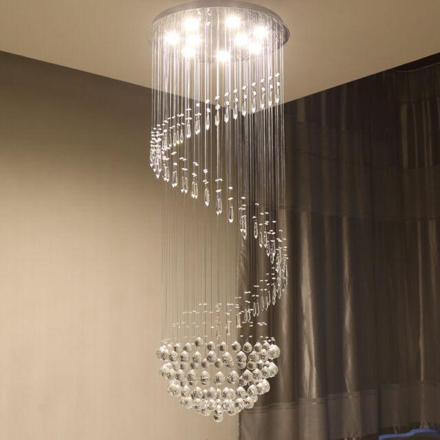 finest selection 84e53 ad3b3 LED Rain Drop Lighting Lobby Pendant Light Crystal Chandelier Stair Ceiling  Lamp
