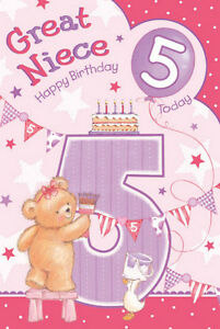 Details About Great Niece 5th 5 Today Cute Bear Duck Cake Bunting Design Happy Birthday Card