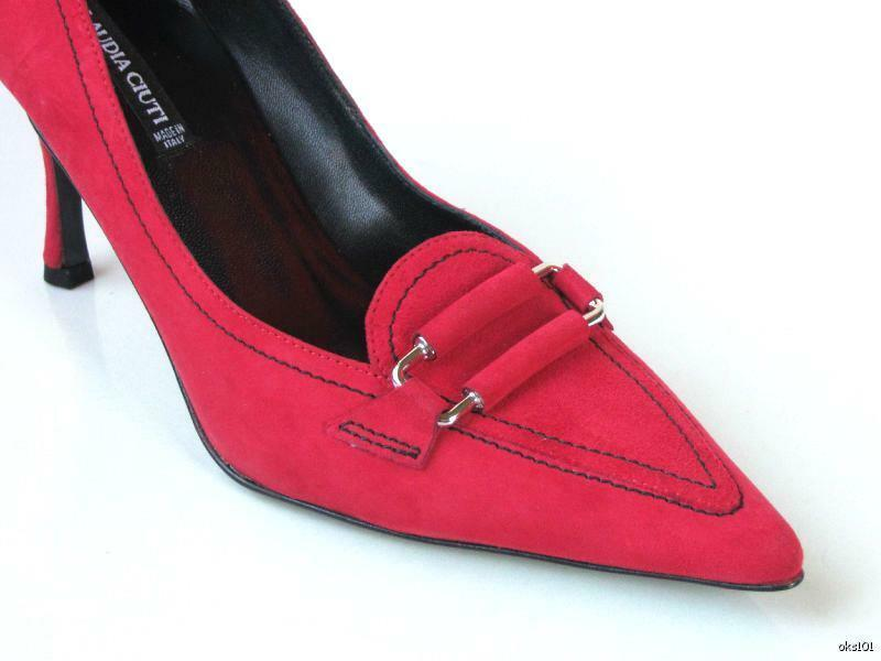 New New New CLAUDIA CIUTI  Margie  red suede heels pumps shoes - classic style 9dcbd6