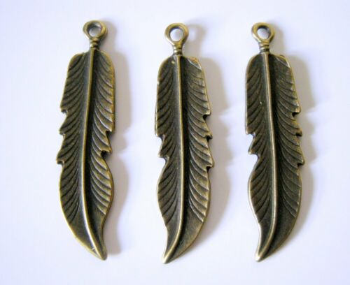 Charms  G1085 Jewelry Making Supplies 10 Bronze Tone Feather Charms 46x11mm