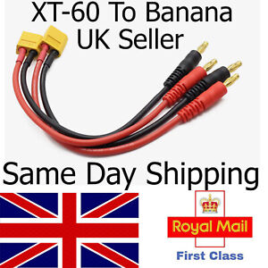 XT60 to 4mm Banana Plug RC drone car truck Battery charge Cable Lead UK sameday