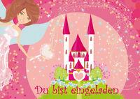 8 Einladungskarten Zum Kindergeburtstag Für Mädchen Mit Schloss & Prinzessin
