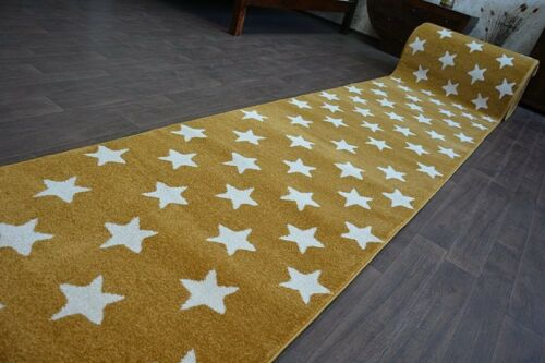 Modern Thick Hall Runner SKETCH STARS gold Width 80-120 cm extra long Stairs
