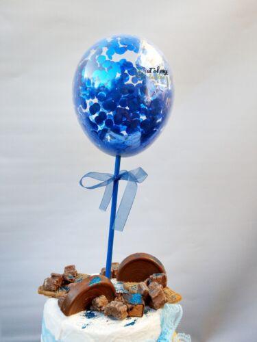 ROYAL BLUE CONFETTI BALLOON CAKE TOPPER WEDDING PARTY BIRTHDAY BRIDAL BABY BOY