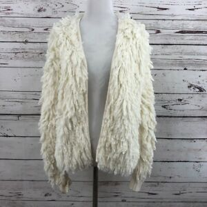 1-State-Womens-Size-Small-Loop-Stitch-Cardigan-Sweater-Coat-White