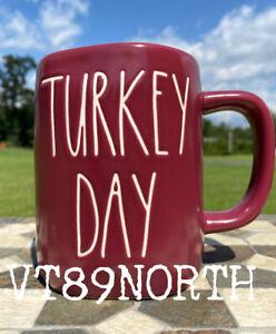 New-RAE-DUNN-Fall-Farmhouse-LL-034-TURKEY-DAY-034-Burgundy-Maroon-Mug-By-Magenta