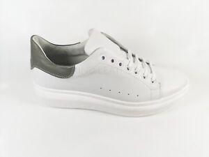 """Dettagli su Sneakers NO BRAND Uomo Simile """"Alexander Mcqueen"""" Bianco  /grigio Vera pelle"""
