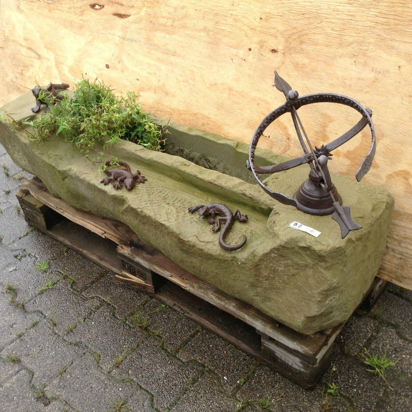 Garden Path Stream Pond Natural Stone Trough Fountain Bird Bath Sundial Lizard