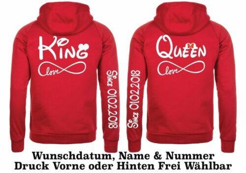 Hoodie Pullover King Queen Motiv Partner Look Pärchen Hipster XS 5XL