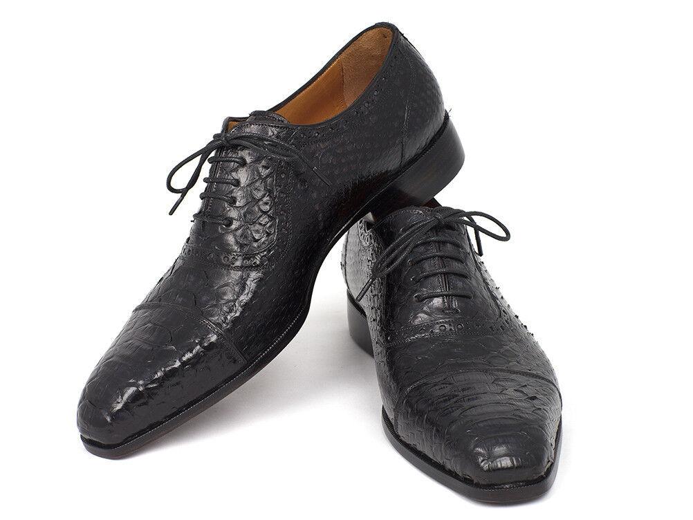 Paul Parkman Men's Black Genuine Python Captoe Oxfords Handmade shoes
