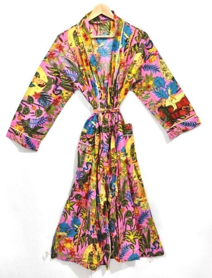 Handmade Frida Khalo Bedruckte Baumwolle Kimono Strand Kleidung, Bademantel,