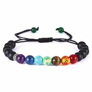 Genuine Bracelet Natural Gemstone 7 Chakra Beads Macrame Healing Reiki UK