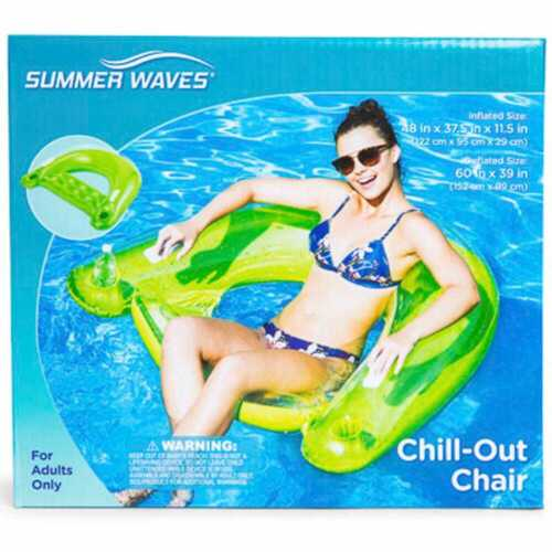 """Summer Waves Inflatable Chill Out Pool Chair Choose 1 From 3 Colors 38/"""" X 48/"""""""