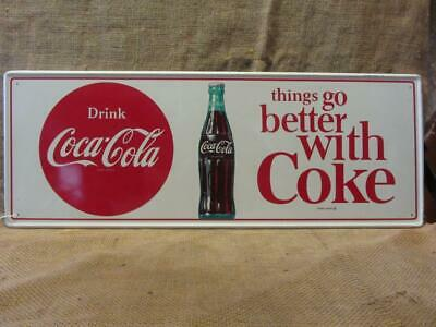 "8/"" X 12/"" Metal Embossed Coke Sign Counter Coke"